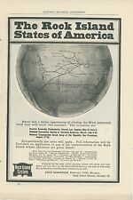 1903 Rock Island Railroad Ad Map of Lines in US Railway Routes