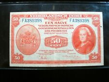 NETHERLANDS INDIES 50 CENT 1943 DUTCH EAST INDONESIA 398# BANK BANKNOTE MONEY