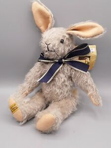 """Merrythought Binky Bunny Rabbit Classic Jointed Mohair  11"""" Tall Made in England"""