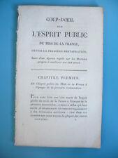 RARE PLAQUETTE SUR L'ESPRIT PUBLIC RESTAURATION 1818 L'ESPRIT PUBLIC DU MIDI DE