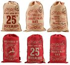 Large Vintage Hessian Christmas Santa Sack Stocking Jute Xmas Gift Bag
