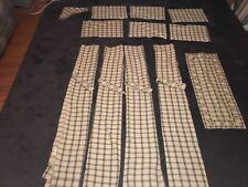 "Park Designs 72x63 Cream/Green Tieback Curtains,36""tablerunner,6placemats"