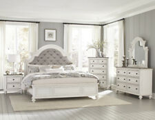 Button Tufted Antique White Queen Bed N/S Dresser Mirror Bedroom Furniture Set