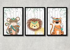 Bild Set Safari Tiere Kunstdruck A4 Affe Löwe Tiger Tribal Poster Kinderzimmer
