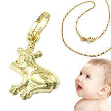 Baby Kinder Anhänger Märchen Frosch mit Krone Echt Gold 375 mit AMD Kette