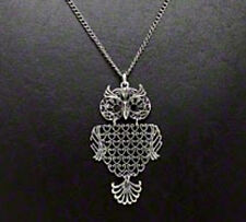 """Owl Necklace Steampunk Antiqued Silver Pendant 30"""" Chain Jewelry"""