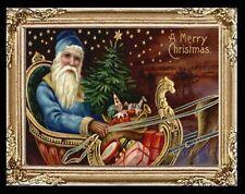 Victorian Christmas Santa Claus Sleigh Miniature Dollhouse Picture