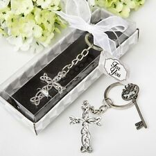 100 Silver Metal Intertwined Cross Key Chain Baby Christening Shower Gift Favors