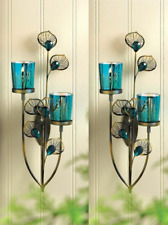 2 Teal Blue Turquoise Peacock Feather Wall Sconce Sculpture Art Candle Holder