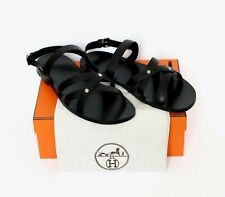 HERMES Paris Minos sandal slippers black calfskin gladiator greek IT45 UK11 US13