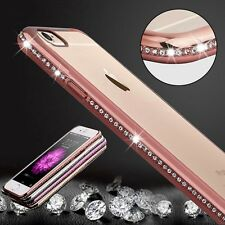 LUXUS STRASS CASE FÜR APPLE IPHONE 6 6S TRANSPARENT HÜLLE COVER HANDY ROSE TPU
