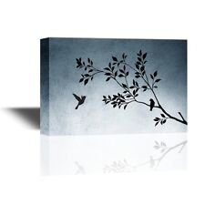 wall26 - Canvas Wall Art - Silhouette of Birds on Tree Branches - 12x18 inches