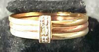Zierlicher TRICOLORRING 8 Karat GOLD 333/f. 1,4 Gramm 1 Punkt - Brillant RW 51