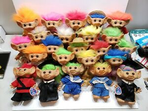 """Vintage Troll Dolls Uneeda Huge Lot of 23! All 8"""" Some W/ Tags & Incomplete"""