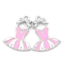 """10PCs Charm Pendants Dress Enamel Pink White 7/8""""x 5/8"""""""