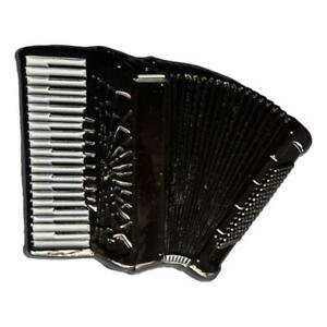 Black Accordion shaped silver-plated lapel pin badge musician gift