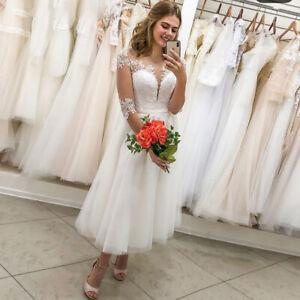 Lace Illusion Neck Short Wedding Dress Tea Length Half Sleeve Beach Bride Gowns