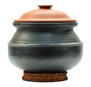 Unglazed Clay Handi/Earthen Pot for Cooking with Lid (Black, 3 L)