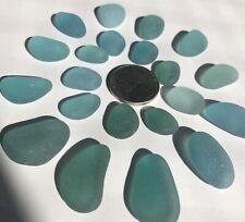 Surf-Tumbled GENUINE Sea glass Beautiful Beach Glass Jewelry/Crafts Blue h3