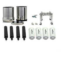 Crown Berkey Water Filter 4 Black 4 Fluoride and Stainless Steel Spigot / Stand