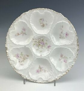 Mystery Maker Painted Porcelain Pink Floral Gold Trim Scalloped Oyster Plate JWR