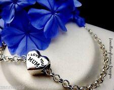 Beautiful I LOVE YOU MUM Mother Love Heart Charm Belcher Bracelet 20cm