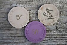 3 Vintage Cowboy Bar Lusk Wyoming Clay Casino Illegal Club Gambling Poker Chips