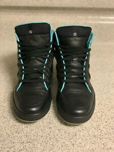 Gucci Phantom (368517) Black & Teal Leather High-Top Sneakers / 10G = 11US