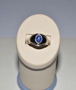 14k White gold vintage Blue Lindy Star sapphire ring size:8. 5.6 gr.