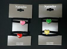NEW NATASHA NORDSTROM 2 SETS=4 TOTAL HAIR TIES PONY TAIL HOLDER SMALL HEART