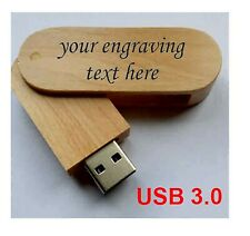 Personalised  wooden laser engraved 16GB usb flash drive memory stick USB3