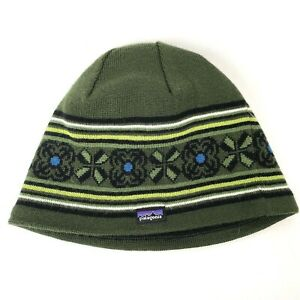 Patagonia Adult One Size Wool Beanie Hat Polyester Fleece Lined Green Patterned