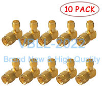 10X NEW SMA Plug to SMA Jack Male Right Angle Coax Adapter Connector Converter