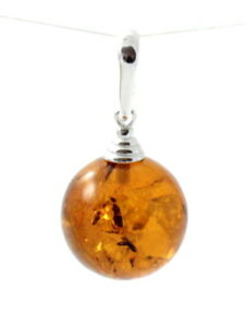 Baltic Amber Pendant for Necklace, Round Ball, Sterling Silver 925, Jewelry