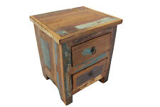 Bedside Table Solid Reclaimed Teak Wood 2 Drawers Bedroom Storage Free Delivery