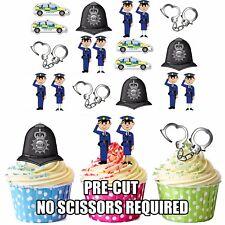 Precut Polizia Poliziotto Festa a Tema 36 Decorazioni per Cupcake Commestibili Decorazioni per Torta