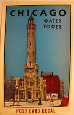 Vintage Original Chicago Water Tower Post Card Water Slide Color Decal 1940's