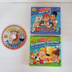 School Zone Interactive Software Pre School Beginning Reading Math 3 Bundle