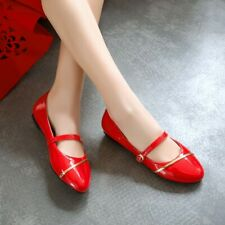 Women Girls Flat Mary Jane Cute Strap Buckle Round Toe Patent Leather Shoes Size