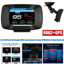 OBD2+GPS LCD Car HUD Head Up Display Speedometer RPM/ Alarm /Temp Multi Function