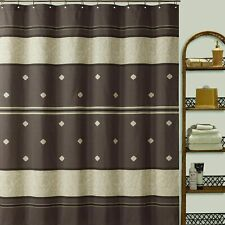 Nice Chocolate Beige Striped Tier Shabby Chic Elegant Fabric Shower Curtain