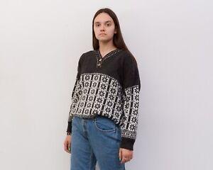Women's XL Norwegian Sweater Jumper Pullover Warm V-neck Christmas Grey VTG