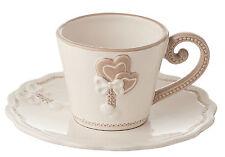 TAZZINE CAFFE SET DA 6 CERAMICA PANNA TORTORA CUORE CUORI SHABBY NACCHI ART.ZA51
