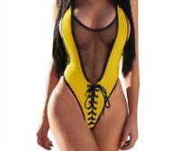 Fashion Mesh One Piece Swimsuits Women Swimwear High Cut Swimming Suits Bodysuit