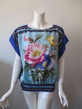 Forever 21 Blue Floral Print Cap Sleeve Elastic Hem Polyester Top Shirt L/G
