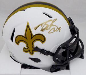 Drew Brees Auto Saints Lunar Eclipse Speed Mini Helmet (Mark) Beckett WG57837