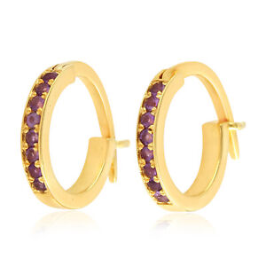 10k Yellow Gold Hoop Earrings Natural Diamond Gemstone Huggie Earrings Jewelry
