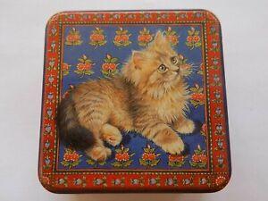 PAST TIMES TIN LESLEY IVORY DESIGN KITTEN CAT SQUARE TIN