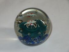 Vintage Art Glass Paperweight w/ Fish (T549)