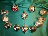 ~ 12 alte Christbaumkugeln Glas Reflexkugeln Oliven silber weiß rot mundgeblasen